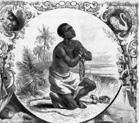 Original caption: Slave in chains on knees, praying. Embellished border. Undated engraving. --- Image by © Bettmann/CORBIS